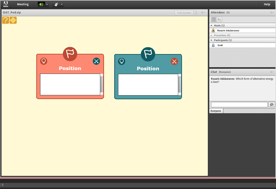 Screen capture of arguementation tool